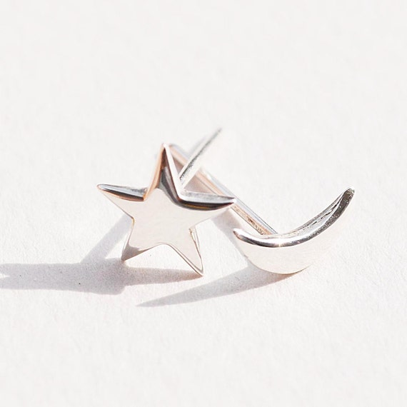 the little star and moon earrings-sterling silver-FREE SHIPPING-made to order