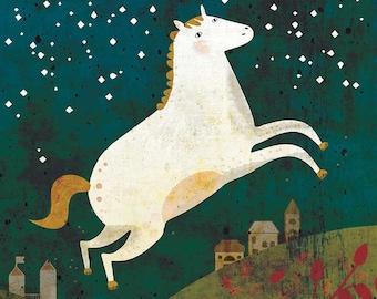 HORSE art print // cute white horse at night // illustration // green wall decoration