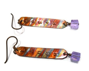 Copper Jewelry Inspirational Metal Earrings Flame Painted Alexandrite  Dangle Drop CRYSTALLIZED  Swarovski Elements