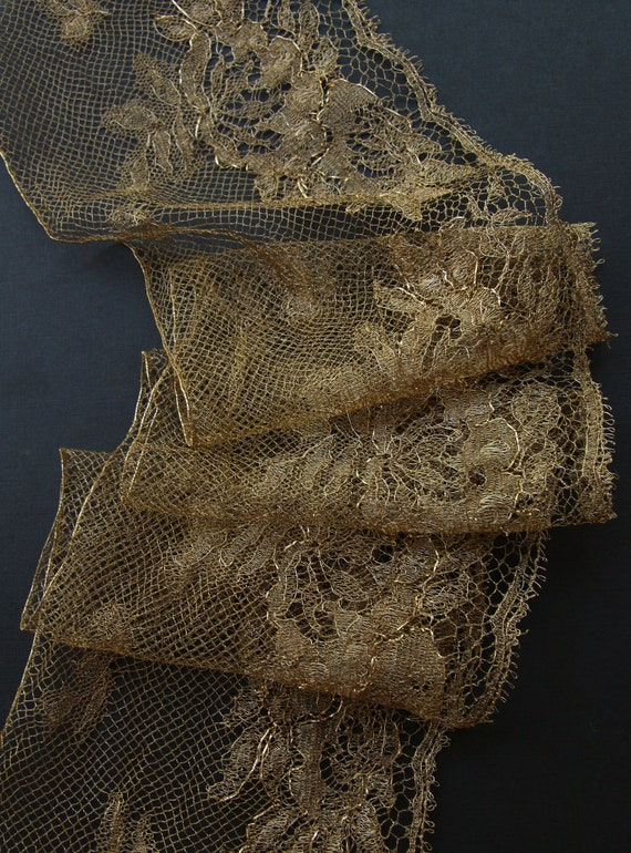 "RESERVED-Tatiana-18"" Antique French metal lace edwardian wide rose boudoir flapper trim lush gold more available"