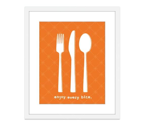 Enjoy Every Bite Print -  Fork Knife Spoon Print - Cutlery Art Print - Kitchen Print Kitchen Wall Art Kitchen Decor - Modern Kitchen Decor