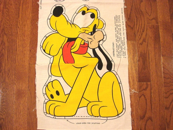 Vintage Pluto 1980s Disney Fabric Panel Stuff and Sew Pillow PLUTO the dog
