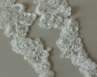 Ivory Bridal Lace applique - Appset-005