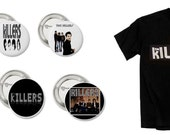 """Brandon Flowers Rock Band """"The Killers,"""" T-Shirt X-Large With Buttons (Pins) Set"""