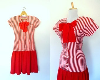 Vintage 80s red striped dress floppy bow (xs - small)