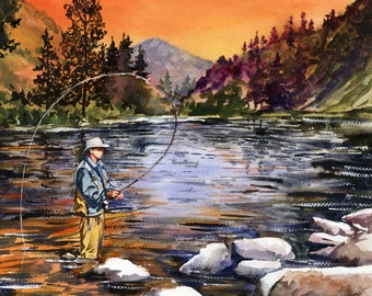 Sunset Mountain Fly Fishing, watercolor painting print