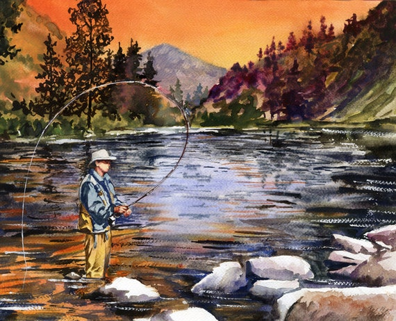 Paintings of Sunsets Mountains Sunset Mountain Fly Fishing