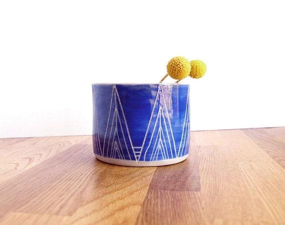 Blue Tall Peaks Ceramic Cup/Planter