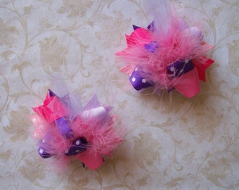 Hair Bows Set of 2---Mini Funky Fun Over the Top Bows--Pinks and Purples---Must have, Super girly color combo