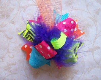 Hair Bow---MINI Funky Fun Over the Top Bow---Funky Bright and Neon---