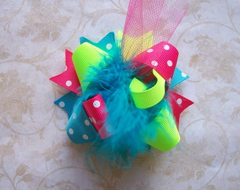 NEONS---Hair Bow---MINI Funky Fun Over the Top Bow---Lime, Turquoise, and Hot PINK