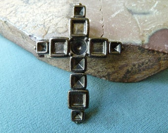 Tall Religious Cross Pendant with Settings for Rhinestones - 54x39mm - High Quality Strong Metal Casting