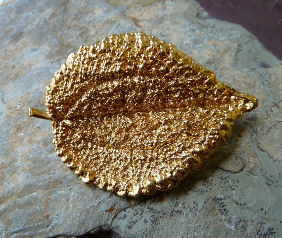 Gold Plated Leaf Brooch Pin - 62x42mm - High Quality - Gorgeous - Qty 1