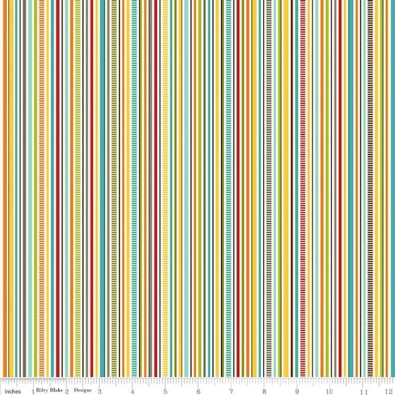 Bright Red Aqua and Yellow Stripe Fabric, Puppy Park By Bella Blvd For Riley Blake, Stripe Print in Cream, 1 Yard