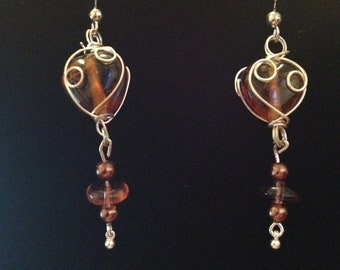 Wire Decorated Brown Stone Earrings