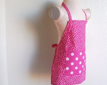 Childrens Apron - Pink Powerful Polka Dot Retro Kids Apron, Fun for cookng, painting or creating arts and crafts