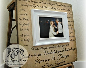 Parents Anniversary Gift Personalized Picture Frame Custom 16x16-It Had To Be You- Love Mom and Dad