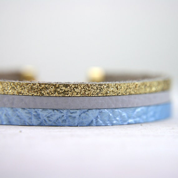 leather bracelet in light blue, grey, and glittery gold - glitter jewelry