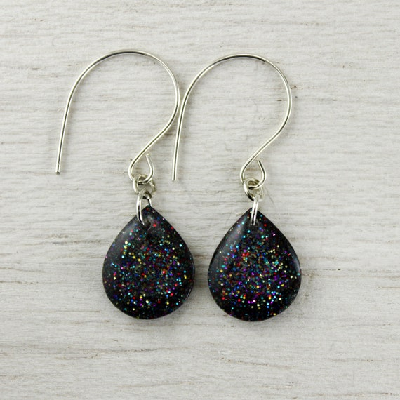sparkly dark rainbow teardrop earrings on sterling silver