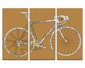 Boulder Colorado Street Map Road Bicycle Triptych Canvas Giclee - Mustard