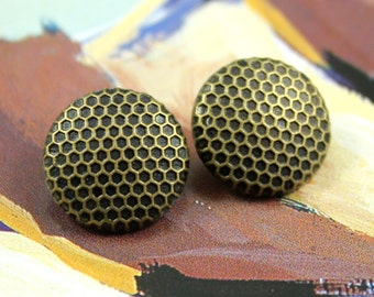 Metal Buttons - Honeycomb Metal Buttons , Antique Brass Color , Shank , 0.59 inch , 10 pcs