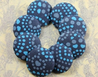 Flowery Blue Polka Dots Fabric Buttons, 1.18 inch   (8 in a set)