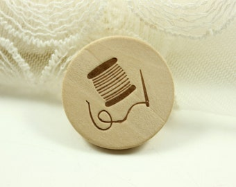 Wood Buttons - Natural Wood Carving Needle and Cotton Thread Pattern Buttons, 1.19 inch. 10 in a set