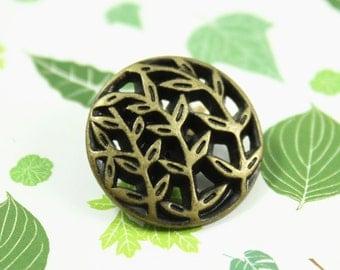 Metal Buttons - Leaf Vines Metal Buttons , Antique Brass Color , Openwork , Shank , 0.79 inch , 10 pcs