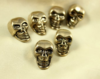 Metal Buttons - Skull Metal Buttons , Antiqued Gold Color , Shank , 1 inch , 6 pcs