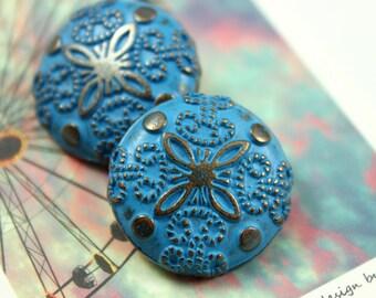 Metal Buttons - Damascene Carvings Metal Buttons , Copper Blue Color , Shank , 0.91 inch , 10 pcs