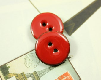Red Buttons - 10 Pieces Of Hot Red Enamel Buttons With Coconut Base. 0.67 inch