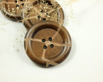 Brown Wooden Buttons - Japanese Style Leather Texture Coffee Brown Wood buttons. 1.38 inch, 10 pcs