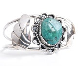 Sterling Silver Native American Bracelet - Vintage Statement Turquoise Jewelry / Green Leaf Cuff