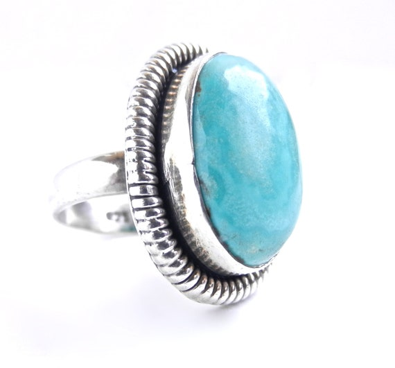 Vintage Sterling Silver Turquoise Ring - Size 7 Statement Native American Jewelry / Southwestern Teal