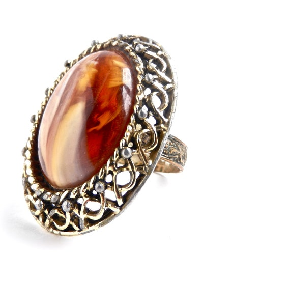 SALE - Vintage Orange Stone Statement Ring - Vintage Adjustable Filigree Gold Tone Costume Jewelry / Gigantic