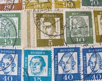 On The Rhine 50 Vintage 1960s Famous Germans Deutsche Bundespost Berlin Postage Stamps Germany Worldwide Rainbow Philately