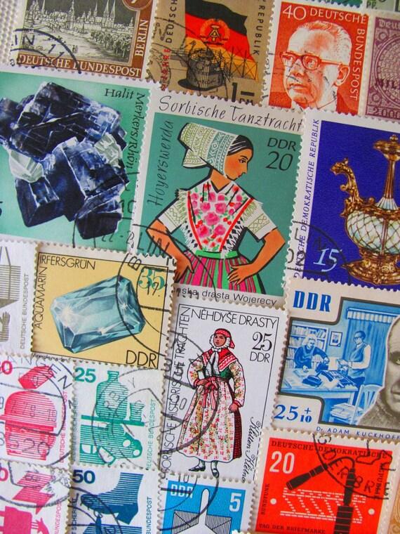 On The Rhine 50 Vintage Postage Stamps Germany German Pride Bundesrepublik Deutschland Deutsche Bundespost Worldwide GmbH DDR Philately