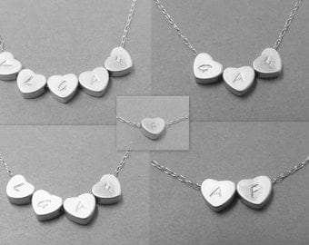 Heart Initial Necklace - Silver - Reversible- Gift - Family - Best Friends - Couples - Mommy Necklace - Sisters