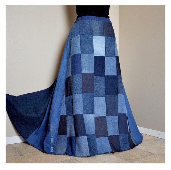Blue Maze OOAK Bohemian Denim Skirt Recycled denim
