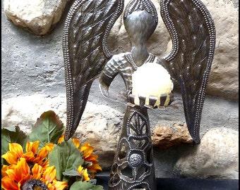 Metal Candle Holder - Angel Design - Christmas Decor, Holiday Decor, Metal Candlestick Holder, Metal Art, Haitian Steel Drum Art - C-115