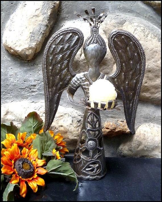 Metal candle holder angel design christmas decor holiday