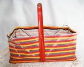 Vintage Market Basket, red, yellow, blue
