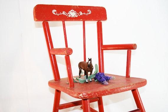 Child Red Rocking Chair ~ Vintage childs rocking chair in cherry red by flattirevintage