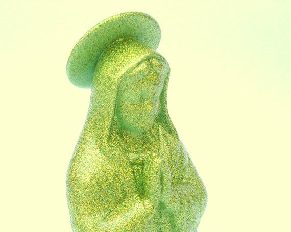 Glitter Madonna Bust - pop art - upcycled painted shabby chic - citrus green color shimmer - Disco Lady