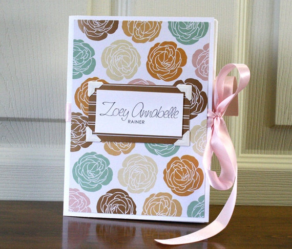 Baby Book, Girl, Peach and Gold Floral
