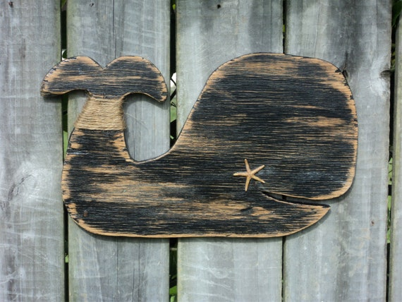 Black Whale, Beach-y Wooden Cottage Decor, Rustic Wall Hanging, Mantle Display