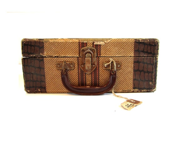 Vintage Small Brown and Tan Train Case Luggage