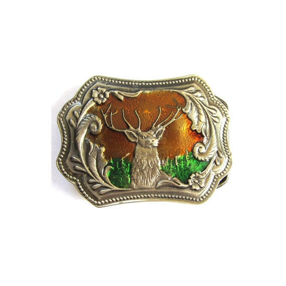 Vintage Enameled Deer Buck Belt Buckle
