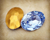 18x13mm Oval Brilliant Light Sapphire Glass Stones Jewels Gems, Foiled backs, Faceted backs, Quantity 2