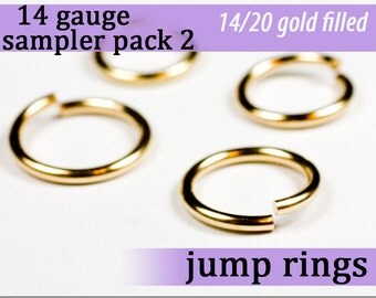 10 pcs 14g gold fill sampler pack 2 jump rings 14 gauge 14gsamp2 14k gold filled rings findings